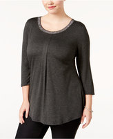 Belldini Plus Size Embellished Swing Top