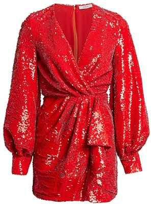 Amen Sequin Wrap Mini Dress