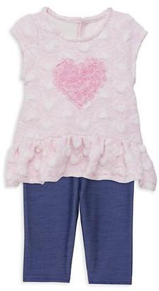 Pastourelle by Pippa & Julie Baby Girl's 2-Piece Heart Tunic Capri Leggings Set
