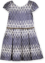 Zoë Ltd Cap-Sleeve Pleated Ikat Jacquard Dress, Navy, Size 7-16