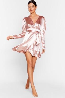 Nasty Gal Womens How Did That Satin Ruffle Mini Dress - Pale Pink