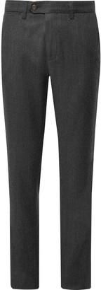 Canali Midnight-Blue Melange Virgin Wool-Flannel Trousers