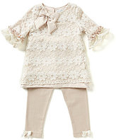 Rare Editions Baby Girls 3-24 Months Daisy-Embroidered Lace-Overlay Dress & Solid Leggings Set