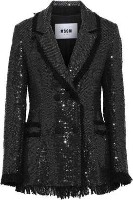 MSGM Double-breasted Sequined Cotton-blend Tweed Blazer