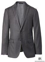 Banana Republic Slim Monogram Charcoal Pinstripe Italian Wool Suit Jacket