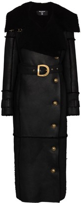 Balmain Exaggerated Collar Shearling Coat