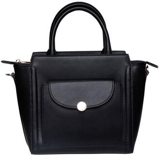 Mocha Brianna Top-Handle Leather Bag - Black