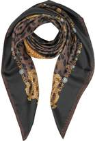 Roberto Cavalli Animal and Jewelry Print Pure Silk Square Scarf