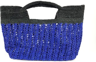 Maraina London Ines Odette Raffia Beach Bag- Blue