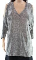 Michael Kors Black White Women's Size Large L Cold-Shoulder Blouse