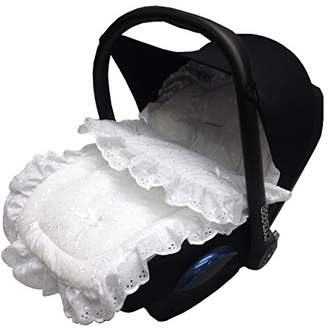 Broderie Anglaise Car Seat Footmuff/Cosy Toes Compatible with Mamas and Papas White