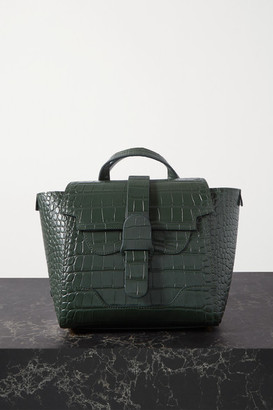 Senreve Mini Maestra Convertible Croc-effect Leather Shoulder Bag - Dark green
