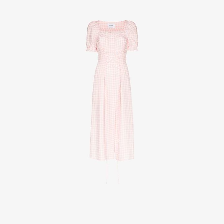 Sleeper Marquise gingham corset midi dress