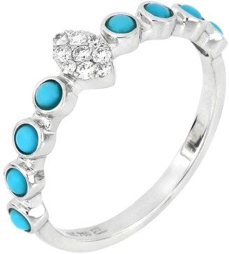 Bony Levy Iris 18K White Gold Bezel Set Turquoise & Pave Diamond Stackable Ring - Size 6.5