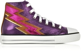 Roberto Cavalli Plum Metallic Nappa High Top Sneaker