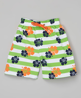 Sweet & Soft Green Flowers Boardshorts - Infant