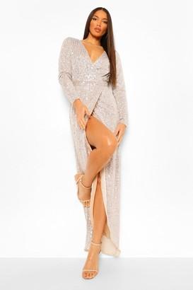 boohoo Tall Sequin Plunge Wrap Maxi Dress