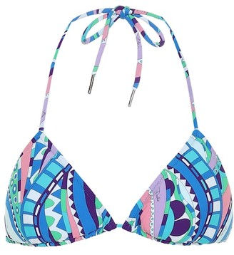 Emilio Pucci Beach Printed triangle bikini top
