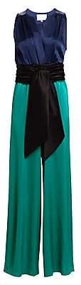 Carolina Ritzler Women's Sleeveless Tie-Waist Satin Jumpsuit