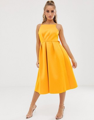 Asos Design DESIGN bow back midi prom dress-Gold