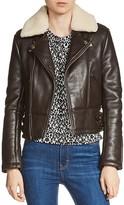 Maje Basou Fur-Collar Moto Jacket