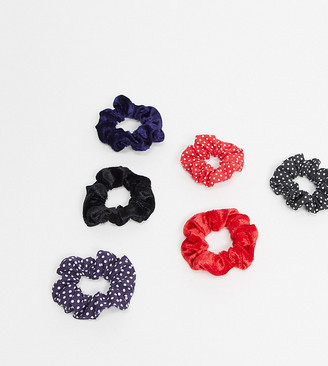 ASOS DESIGN pack of 6 hair srunchies in navy black and red prints