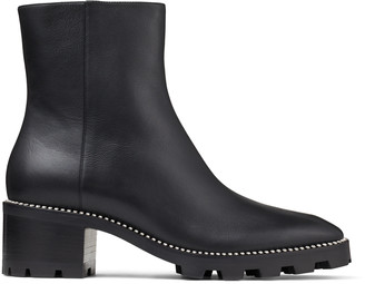 Jimmy Choo MAVA 35 Black Smooth Leather Block Heel Ankle Boots with Crystal Trim