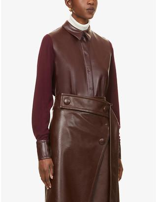 Roksanda Paden faux-leather and woven shirt