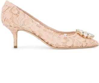 Dolce & Gabbana Pink Bellucci Crystal 70 Lace pumps