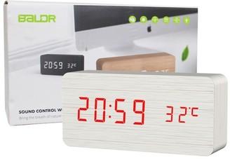 Overstock Baldr Digital Wooden Alarm Clock White CL0929WR1