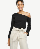 Ann Taylor One Shoulder Flare Sleeve Top