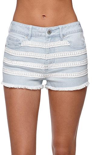 Bullhead Denim Co High Rise Fray Hem Crochet Shorts