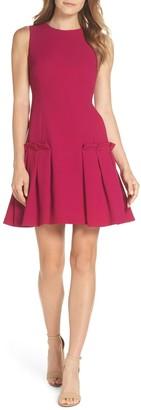 Brinker & Eliza Drop Waist Crepe A-Line Dress (Regular & Petite)