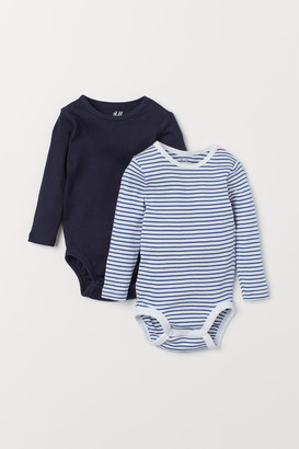 H&M 2-pack Long-sleeved Bodysuits - Blue