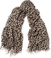 Chan Luu Leopard-print Cashmere And Silk-blend Scarf - Leopard print