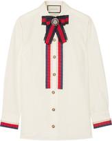 Gucci Embellished Grosgrain-trimmed Cotton-poplin Shirt - Off-white
