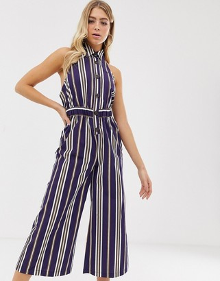 ASOS DESIGN button front collar culotte jumpsuit in stripe print