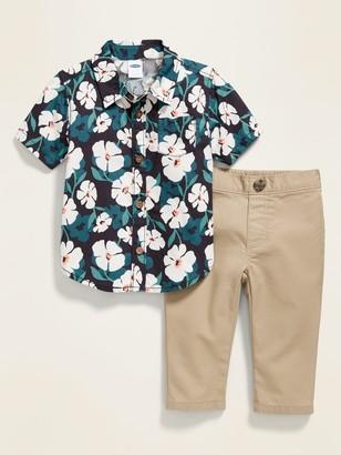 Old Navy Short-Sleeve Shirt & Khaki Pants Set for Baby