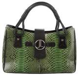 Judith Leiber Leather-Trimmed Python Bag