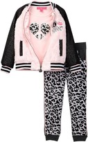 Betsey Johnson Varsity Fuzzy Jacket, Tee, & Jogger Pant Set (Little Girls)