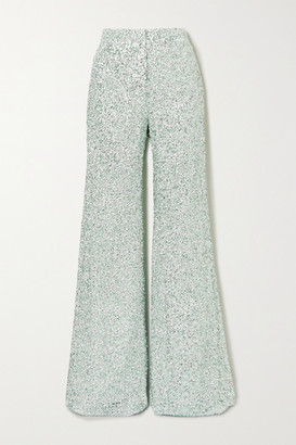 Halpern Stovepipe Sequined Lace Wide-leg Pants - Green