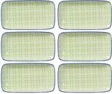Torre & Tagus Kiri Rectangular Porcelain Pansy Tapas Plates (Set of 6)