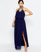 TFNC Embellished High Neck Tierred Maxi Dress