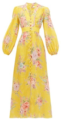 Zimmermann Zinnia Floral-print Linen Midi Dress - Womens - Yellow Print