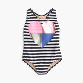 J.Crew Girls' striped racerback one-piece swimsuit with foil heart