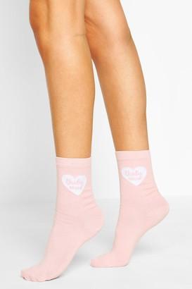 boohoo Brides Bestie Slogan Socks