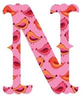 "Wall Candy Arts WallCandy Arts WallCandy Luv Letters Birds Letter ""N"" Wall Decals in Pink"