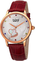 Burgi Womens Multicolor Crystal Red Leather Strap Watch