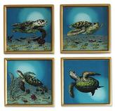 Painted glass coasters (Set of 4), 'Sea Turtles'