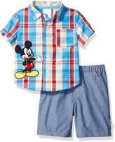 Disney Baby Boys' Mickey Mouse 2-Piece Plaid Woven and Short Set